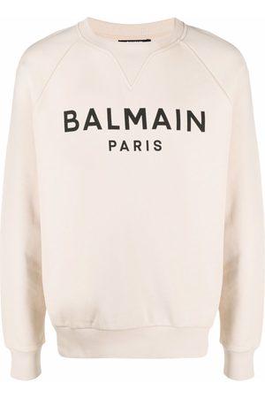 Balmain Logo-print cotton sweatshirt - Neutrals