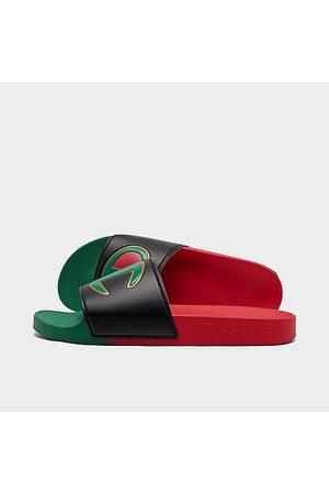 Champion Men Sandals - Men's IPO Split Slide Sandals in Red/Rasta Size 8.0