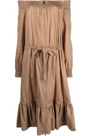 Moncler Women Strapless Dresses - Off-shoulder zipped dress - Neutrals
