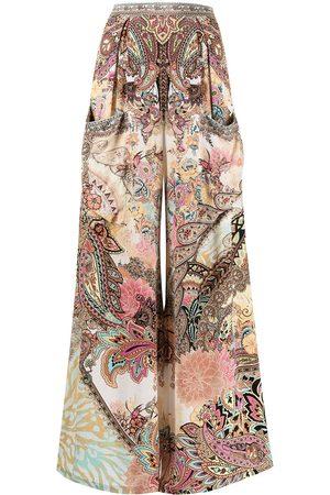 Camilla Women Wide Leg Pants - Paisley-print wide leg silk trousers - Multicolour