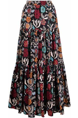 La DoubleJ Fire Flower-print tiered skirt
