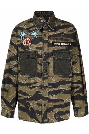 Diesel Men Shirts - Camouflage embroidered-patch shirt
