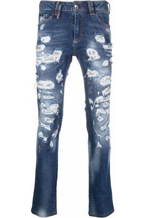 Philipp Plein Men Slim - Mesh ripped-detail jeans