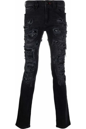 Philipp Plein Mesh ripped-detail jeans