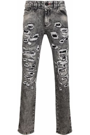 Philipp Plein Men Slim - Distressed slim-cut jeans - Grey