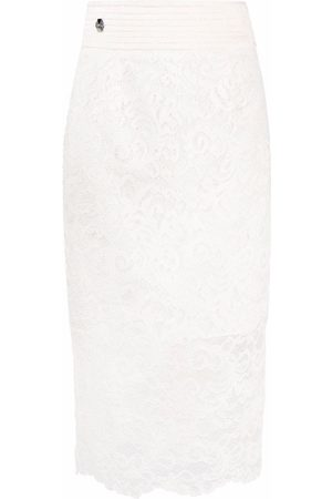 Philipp Plein Women Printed Skirts - Lace-patterned pencil skirt - Neutrals