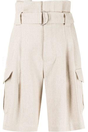GOEN.J Belted paperbag-waist bermuda shorts - Neutrals