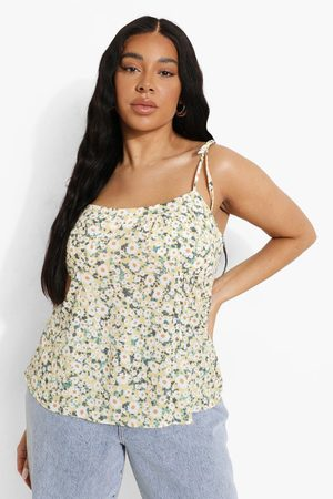 Boohoo Women Camisoles - Womens Plus Daisy Print Tie Detail Cami Top - - 12