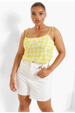 Boohoo Women Camisoles - Womens Plus Gingham Tie Detail Cami Top - - 12
