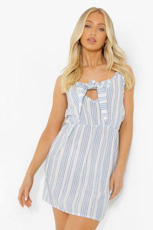 Boohoo Women Party Dresses - Womens Stripe Wrap Strappy Mini Dress - - 4