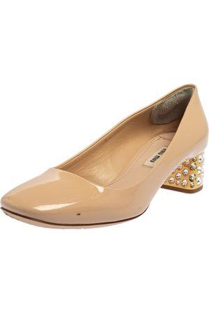 Miu Miu Patent Leather Embellished Heel Pumps Size 37.5