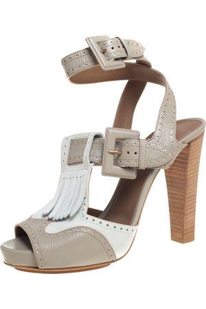 Hermès Grey/White Leather Fringe Platform Sandals Size 40
