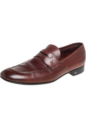 LOUIS VUITTON Leather Penny Slip On Loafers Size 43.5