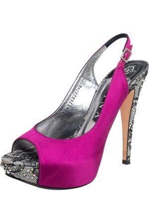Gina Satin Embellished Heel Peep Toe Platform Pumps Size 39