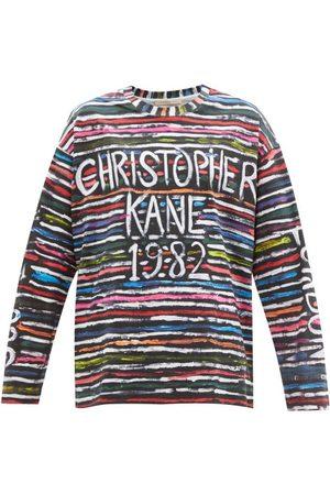 Christopher Kane 1982 Striped-logo Print Cotton-jersey T-shirt - Womens - Multi