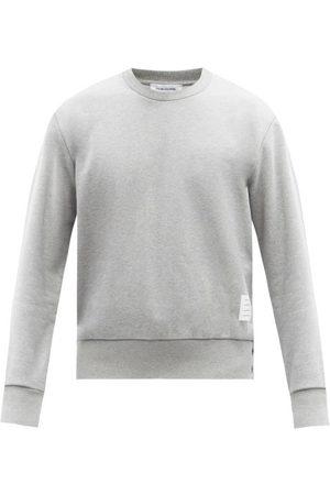 Thom Browne Tricolour-stripe Cotton-jersey Sweatshirt - Mens - Grey