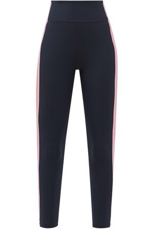 The Upside Side-stripe High-rise Cropped Leggings - Womens - Navy
