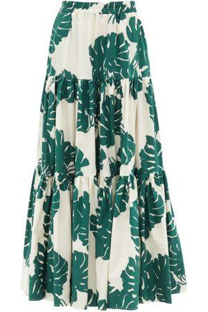 La DoubleJ Big Tiered Monstera-print Cotton-poplin Skirt - Womens