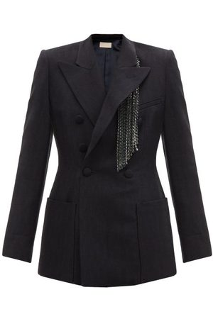 Christopher Kane Crystal-fringed Slubbed-crepe Suit Jacket - Womens - Navy