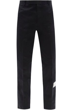 Thom Browne Men Chinos - Logo-patch Cotton Straight-leg Chino Trousers - Mens - Navy