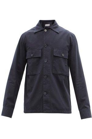 OFFICINE GENERALE Swan Garment-dyed Cotton Overshirt - Mens - Navy