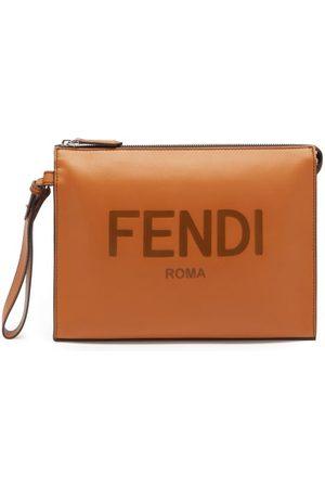 Fendi Logo-debossed Leather Pouch - Mens - Tan