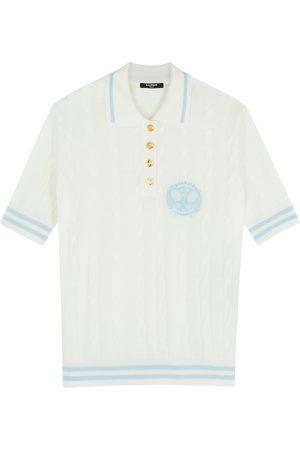 Balmain Cable-knit merino wool polo shirt