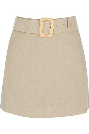 Nanushka Women Shorts - Elowen stone belted linen shorts