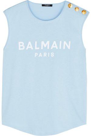 Balmain Women Tank Tops - Light logo cotton tank