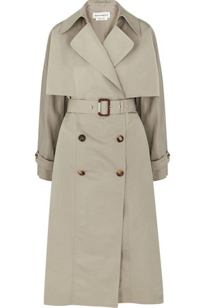 Alexander McQueen Stone double-breasted faille trench coat
