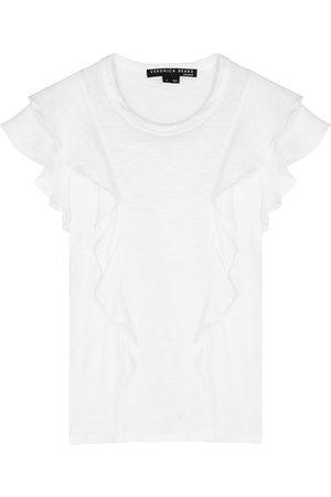 VERONICA BEARD Women T-shirts - Bea ruffle-trimmed cotton T-shirt