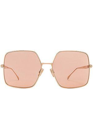 Fendi Metal Square Sunglasses in Metallic