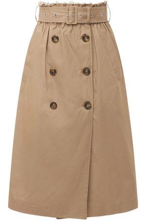 RED Valentino Black Tag Cotton Gabardine Midi Skirt