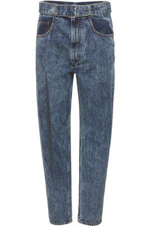 Maison Margiela Women High Waisted - High Waist Belted Denim Jeans W/slit