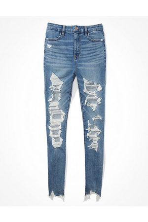 American Eagle Outfitters Women Jeggings - Next Level Ripped Curvy Super High-Waisted Jegging Women's 2 Long