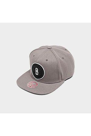Mitchell And Ness Hats - Mitchell & Ness Brooklyn Nets NBA Blackout Pop Snapback Hat in Grey/Grey Acrylic/Wool