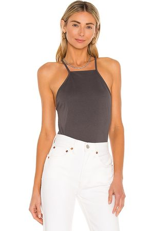 Lovers + Friends Halter Tank in Charcoal.