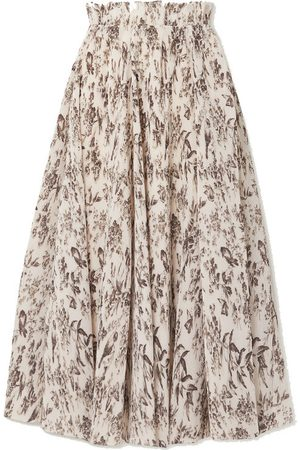 Zimmermann Wild Botanica floral-print plissé-crepe midi skirt
