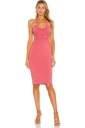 Michael Costello X REVOLVE Mabel Ruched Midi Dress in Pink.