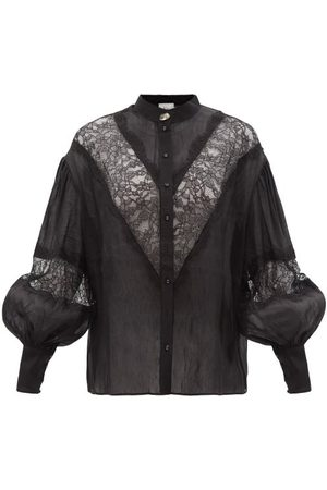 AJE Veil Lace-insert Linen-blend Blouse - Womens