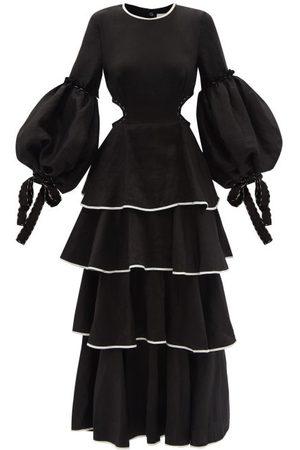 AJE Gracious Cutout Tiered Linen-blend Dress - Womens