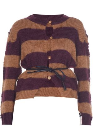 Marni Women Cardigans - Belted Striped Mohair-blend Cardigan - Womens