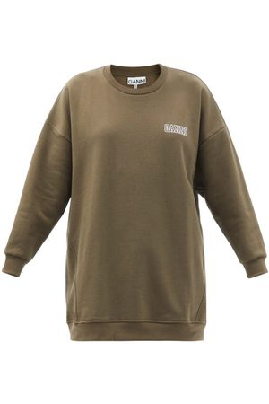 Ganni Software Organic-cotton-blend Jersey Sweatshirt - Womens - Khaki
