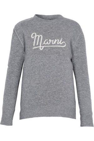 Marni Women Sweaters - Logo-embroidered Wool Sweater - Womens - Grey