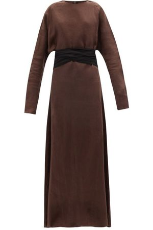 Albus Lumen Mare Tie-waist Linen Maxi Dress - Womens - Dark