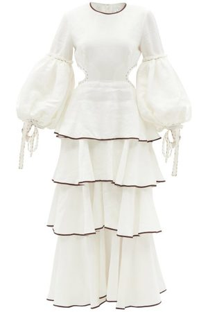 AJE Women Maxi Dresses - Gracious Cutout Tiered Linen-blend Dress - Womens - Ivory