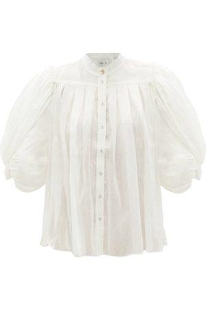 AJE Modest Balloon-sleeve Linen-blend Blouse - Womens - Ivory