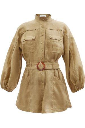 Zimmermann Estelle Belted Linen Playsuit - Womens - Khaki