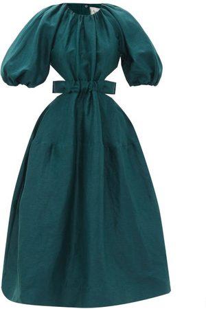 AJE Mimosa Puff-sleeve Linen-blend Midi Dress - Womens - Emerald