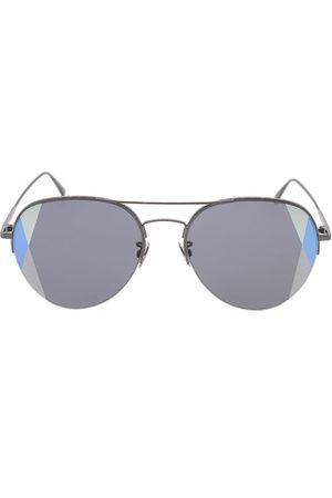 Bottega Veneta And Grey Semi-Rimless Aviator Sunglasses